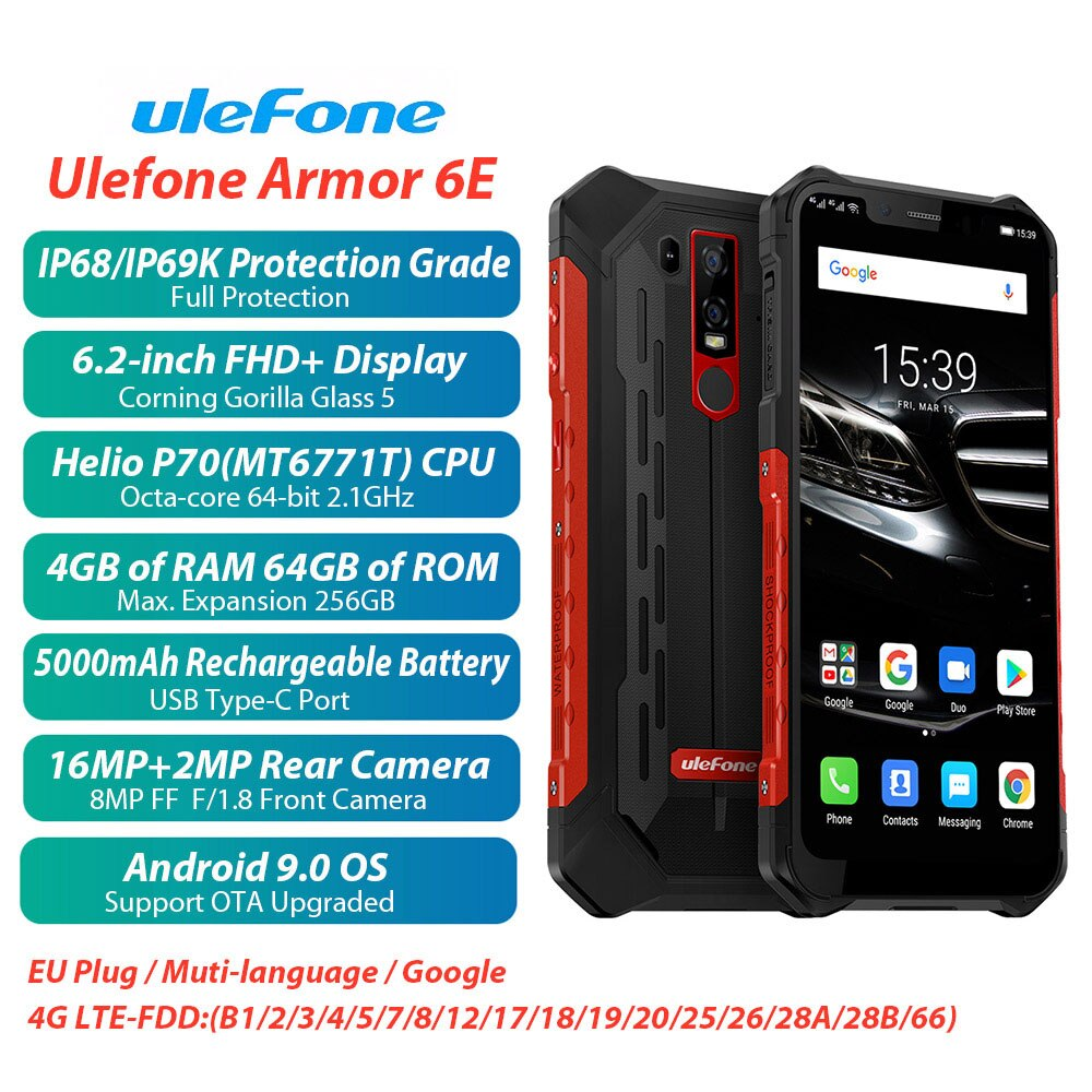 Ulefone Armor 6 Rugged Phone IP68 Waterproof Mobile Phone 6.2Inch FHD+ 6GB+128GB Android 8.1 Helio P60 Otca-core NFC smartphone(China)