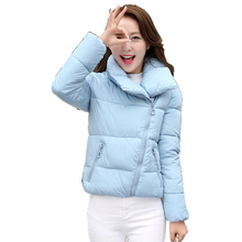 Plus Size New Winter Cotton Jacket Women Korea Warm Short Jackets Coat Cotton Side Zipper Stand