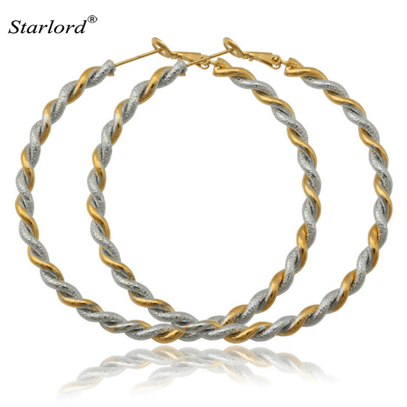 New Fashion Big Hoop Earrings Gold Color 2 Tone Fashion Jewelry Basketball Wives Big Round Earrings For Women Gift E684