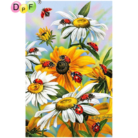 DPF DIY Ladybug Chrysanthemum 5D Home Decor Diamond Painting Cross Stitch Crafts Diamond Mosaic Full Square