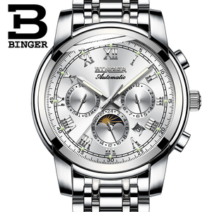 Image 4 - ספיר שעון עמיד למים Relogio Masculino שוויץ אוטומטי מכאני שעון גברים Binger יוקרה מותג Mens שעונים B1178 4