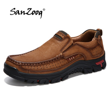 2019 New Outdoor Mens Leather Shoes Genuine Retro Cargo Shoes Cow Leather Working Safety Shoes Brown