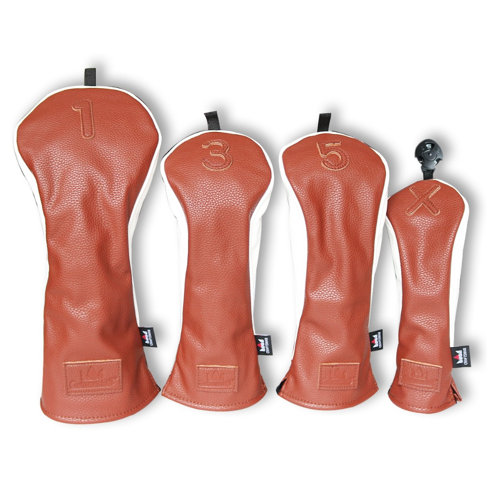 Craftsman Brown/White Premiun 3D Model Golf Driver Head Covers Headcovers Fairwary FW #3 5 UT Utility Rescue Free Shipping