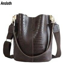 Anslot крокодиловая сумка через плечо для женщин, сумка на плечо, брендовая дизайнерская женская сумка, роскошная сумка из искусственной кожи, сумка-мешок, сумочка HPS405