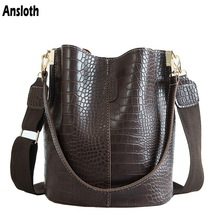 Ansloth Crocodile crossbody bag for women messenger bag brand designer women handbags luxury PU leather shoulder bag bucket bag handbag HPS405