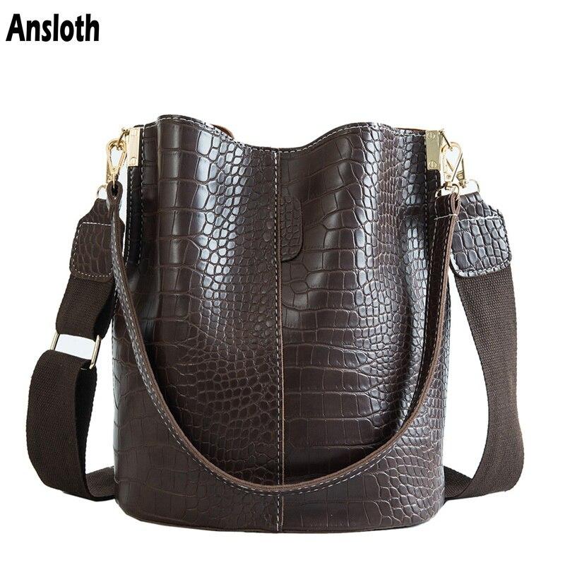 Ansloth Crocodilo Crossbody Saco Para Bolsa de Ombro Mulheres Marca de Designer Sacos De Mulheres De Luxo Bolsa De Couro PU Balde Bolsa Saco HPS405