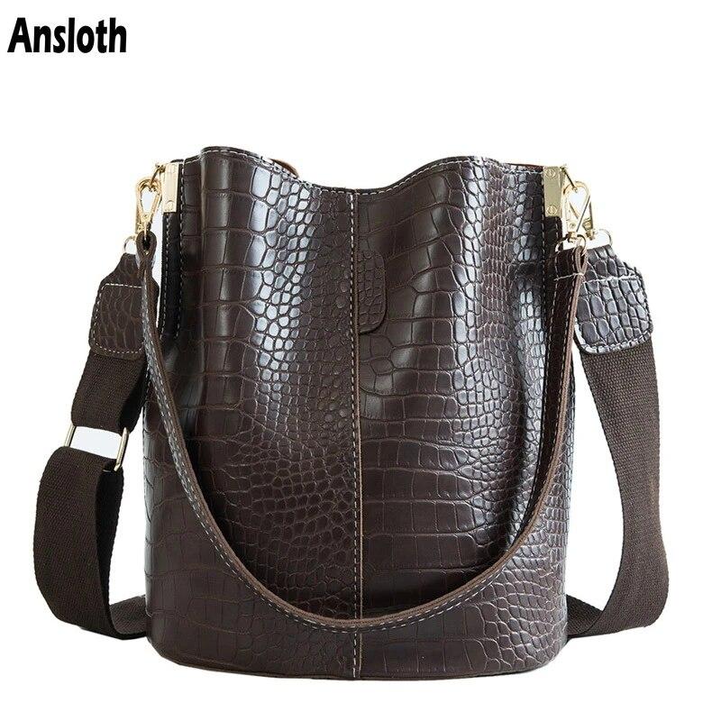 Ansloth crocodilo crossbody saco para as mulheres bolsa de ombro marca designer sacos de luxo saco de couro do plutônio balde bolsa hps405