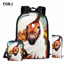 FORUDESIGNS Horse 3D Printing Women Children Backpacks Pencil Bag 3Pcs/set Portfolio School Bags For Boys Girls Bookbag Satchel
