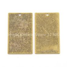 Jewelry Findings Metal Tags, Brass Blank Stamping Tag Pendants, Rectangle, Antique Bronze, 32x18x0.3mm, Hole: 1mm