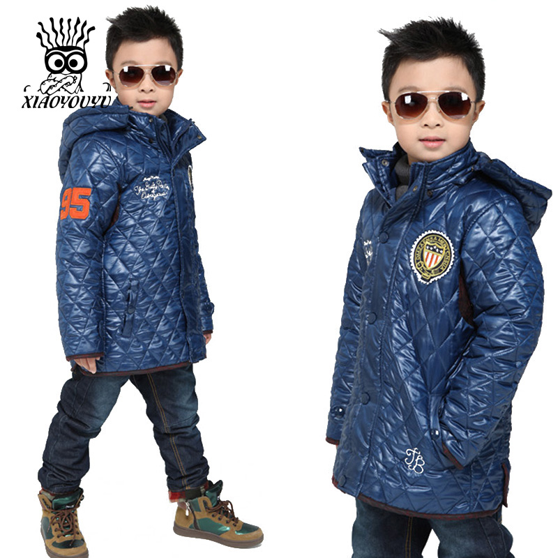 XIAOYOUYU Boy Winter Jacket Cotton Padded Coats Children Kids Hooded Parkas Size 110 120 130 140 150 cm Black Blue Orange children winter coats jacket baby boys warm outerwear thickening outdoors kids snow proof coat parkas cotton padded clothes