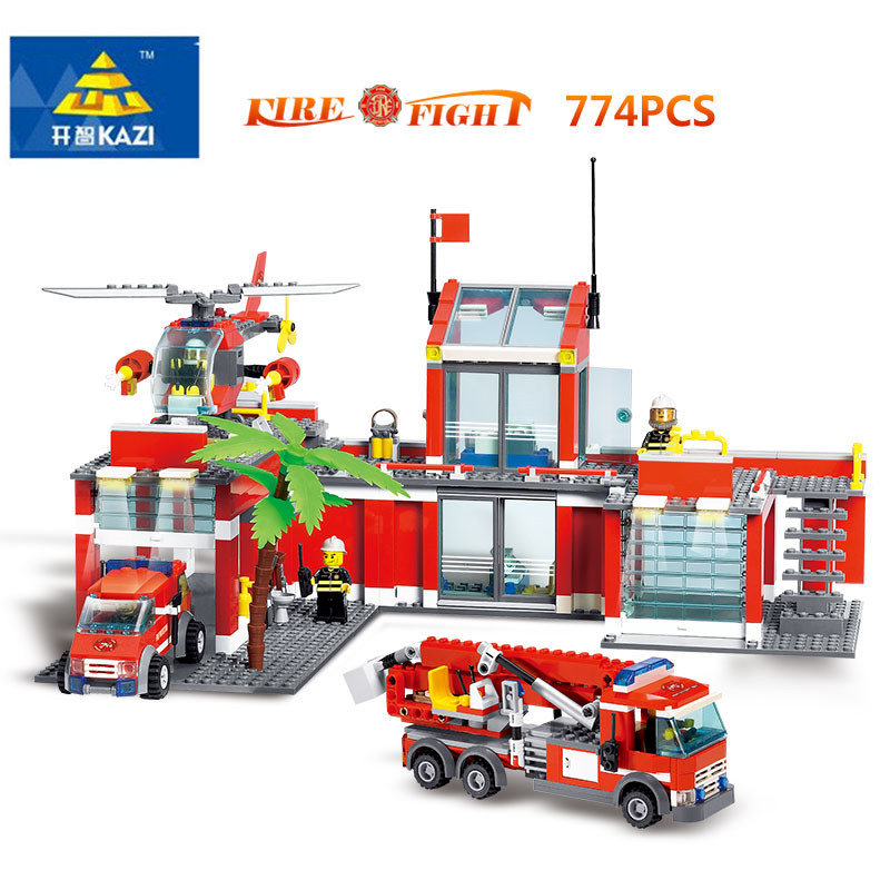 774pcs+ KAZI 8051 Fire Station Building Block Engineering City Fire Rescue Truck Helicopter Brinquedo Block Kids Educational Toy kazi fire department station fire truck helicopter building blocks toy bricks model brinquedos toys for kids 6 ages 774pcs 8051