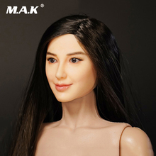 1/6 Scale Asian Beauty Female Head Sculpt With Brown/Black Hair Angelaba Head Scuplt Model for 12 inches Action Figure Body 1 6 scale asian beauty girl lingling head w black long straight hair for 12 action figure accessory collection doll toys gift