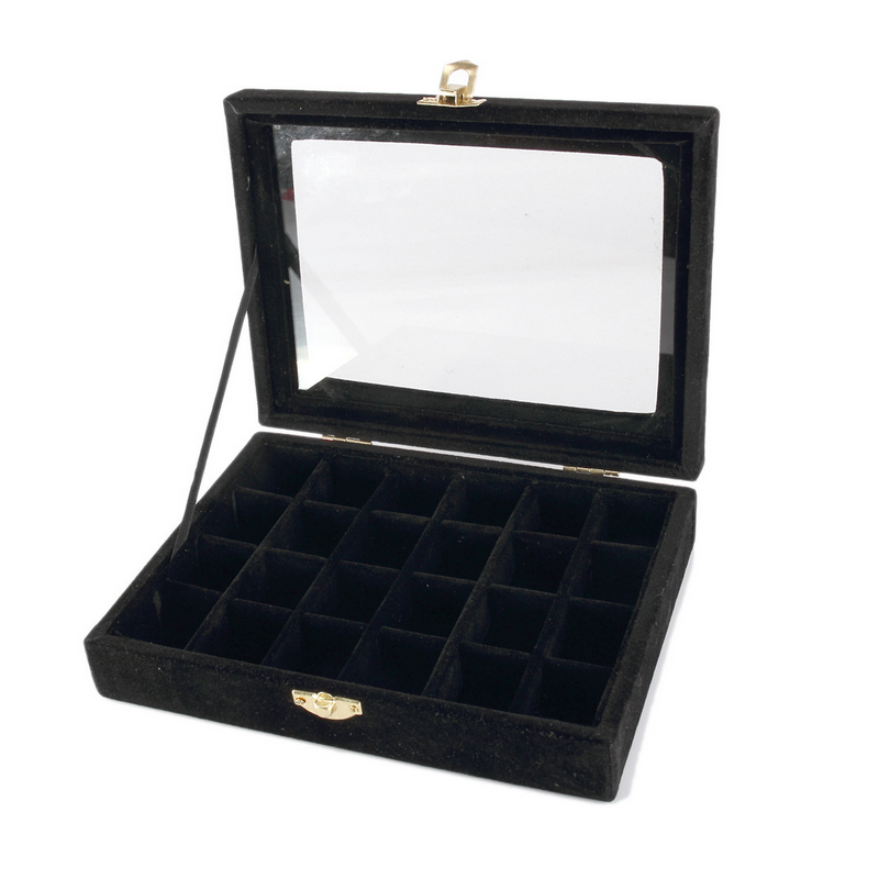 Free Shipping Top Grade 24 slot Black Glass Lid Bracelet Loose Bead Box Jewelry Boxes Display Box Bracelet Jewelry Display Shelf free shipping high grade empty rose red jewelry boxes ring pendant bracelet necklace packing box