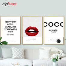 Dpkiss Canvas Nordic Letter Red Lips Picture Art Print Poster Wall Home Decor Painting For