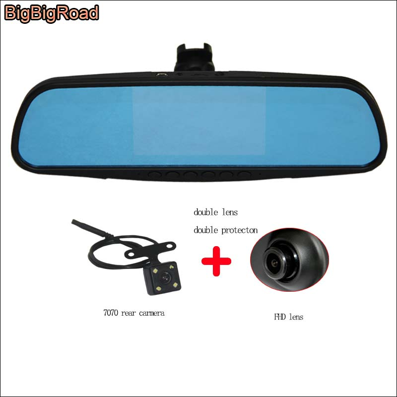 BigBigRoad For honda civic odyssey Car Mirror Camera DVR Blue Screen Video Recorder Dash Cam with Original Bracket bigbigroad for nissan qashqai car wifi dvr driving video recorder novatek 96655 car black box g sensor dash cam night vision