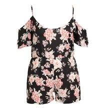 Plus Size Women Short Sleeve Floral Printed O Neck Off Shoulder Spaghetti Strap Summer Female Romper
