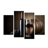 קיר בד אמנות יין ופירות מזון ענבים עם זכוכית וחבית הדפסת תמונה על בד לבית (30x60cmx2pcs + 30x80cmx2pcs)
