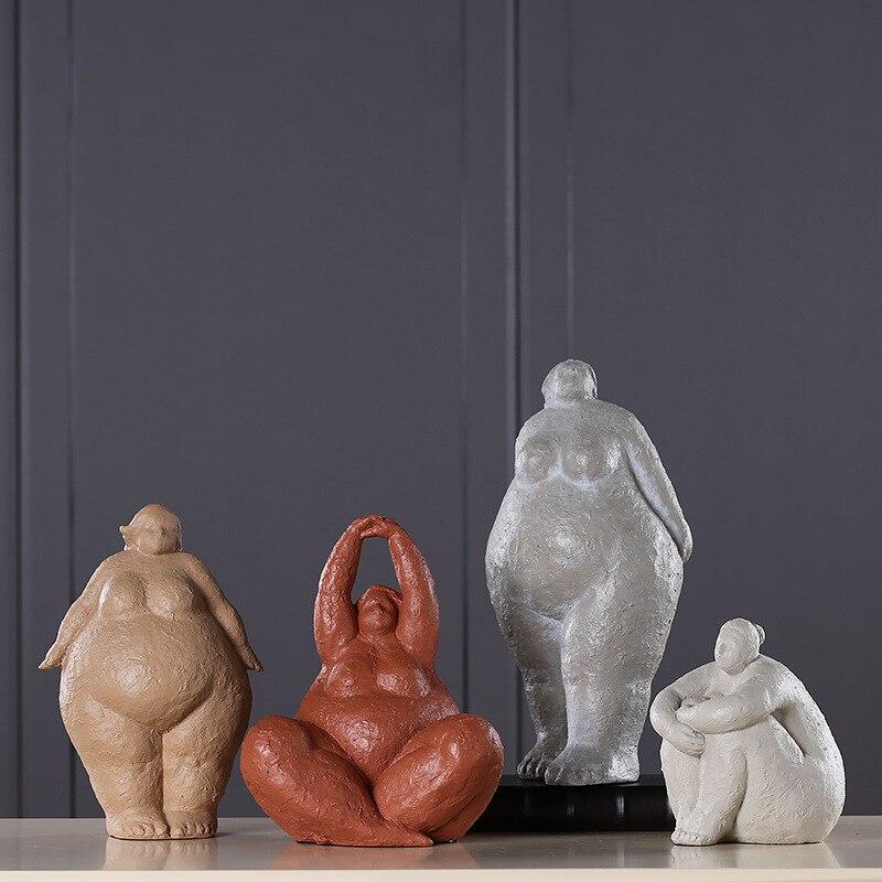 Estilo nórdico resina Fat womanhood personaje lugares pieza cara gruesa vive en adorno sala de estar modelo decoración para el hogar-in Figuras y miniaturas from Hogar y Mascotas    1