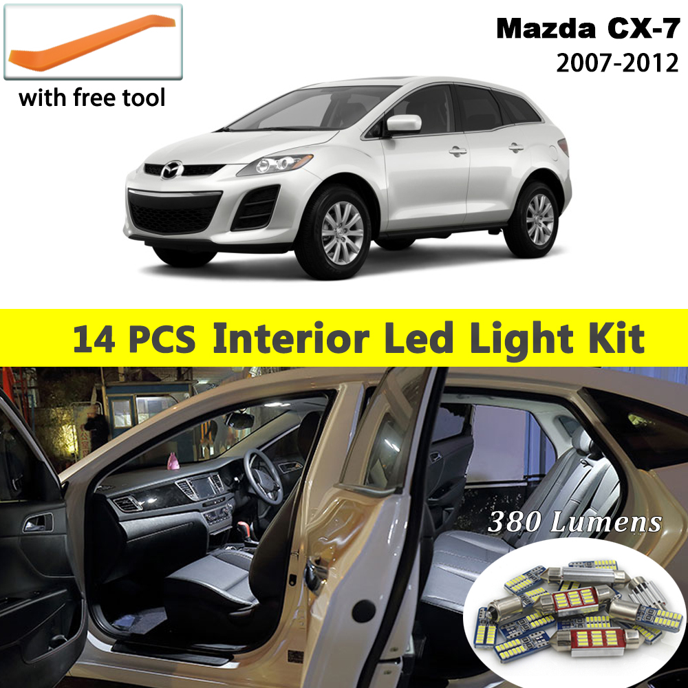 14 Pcs White Canbus <font><b>led</b></font> Car interior lights Package Kit for <font><b>Mazda</b></font> CX-7 <font><b>CX7</b></font> 2007 - 2010 2011 2012 <font><b>led</b></font> interior Dome Trunk lights image