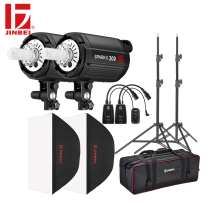 JINBEI SparkII Flash 600W 2*300W Studio Strobe Room Photo Photography Lighting 2 Heads with Softbox Trigger Light Stand bag Kit godox e300 300ws photography studio strobe photo flash light 300w studio flash