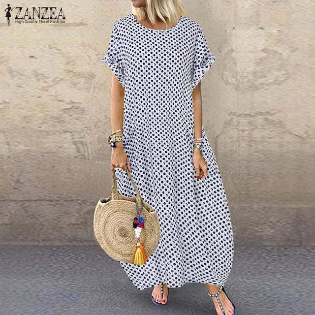 ZANZEA Women Bohemian Dress 2019 Fashion Summer Sundress Ladies Casual Daily Vestidos Long Maxi Dresses Beach Party Robe Femme