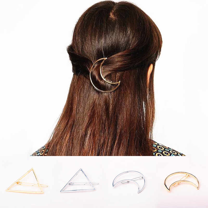 2019 Hot Popular Moon Shape Hairpins Metal Women Lady Girls Triangle Barrette Hair Clip Hair Accessories Best Gift Decorations