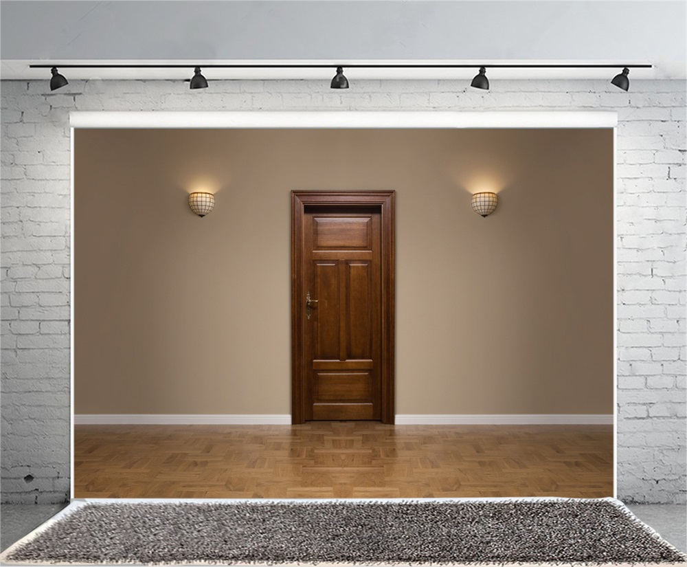Laeacco Wall Door Wooden Flooring Lamp Photography Backgrounds Customized Photographic Backdrops For Photo Studio