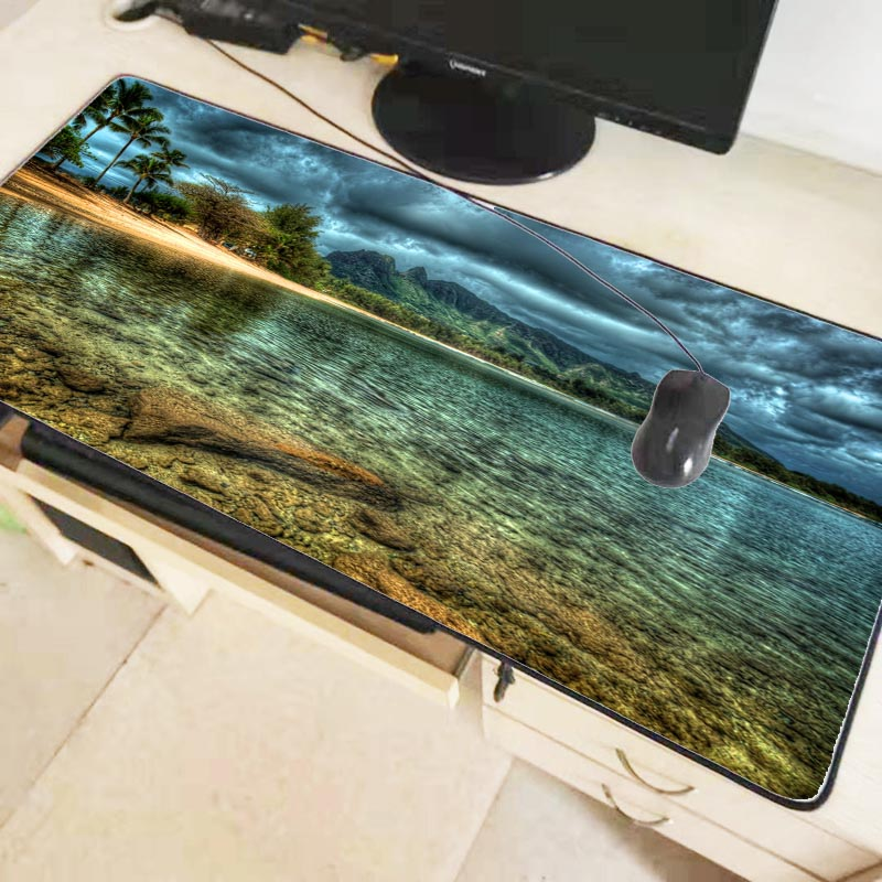Mairuige Ocean Beach Large Gaming Mouse Pad Lock Edge Mouse Mat Keyboard Table Mat Desk Mat for Notebook Laptop Gamer Mousepad 1