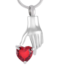 Stainless Steel & Heart Shaped Zircon Memorial Urn