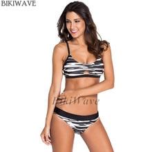 Padding Push Up Bikinis Set Sexy Printing Swimsuit Women Ladies Swimwear Suit Striped Bikinis
