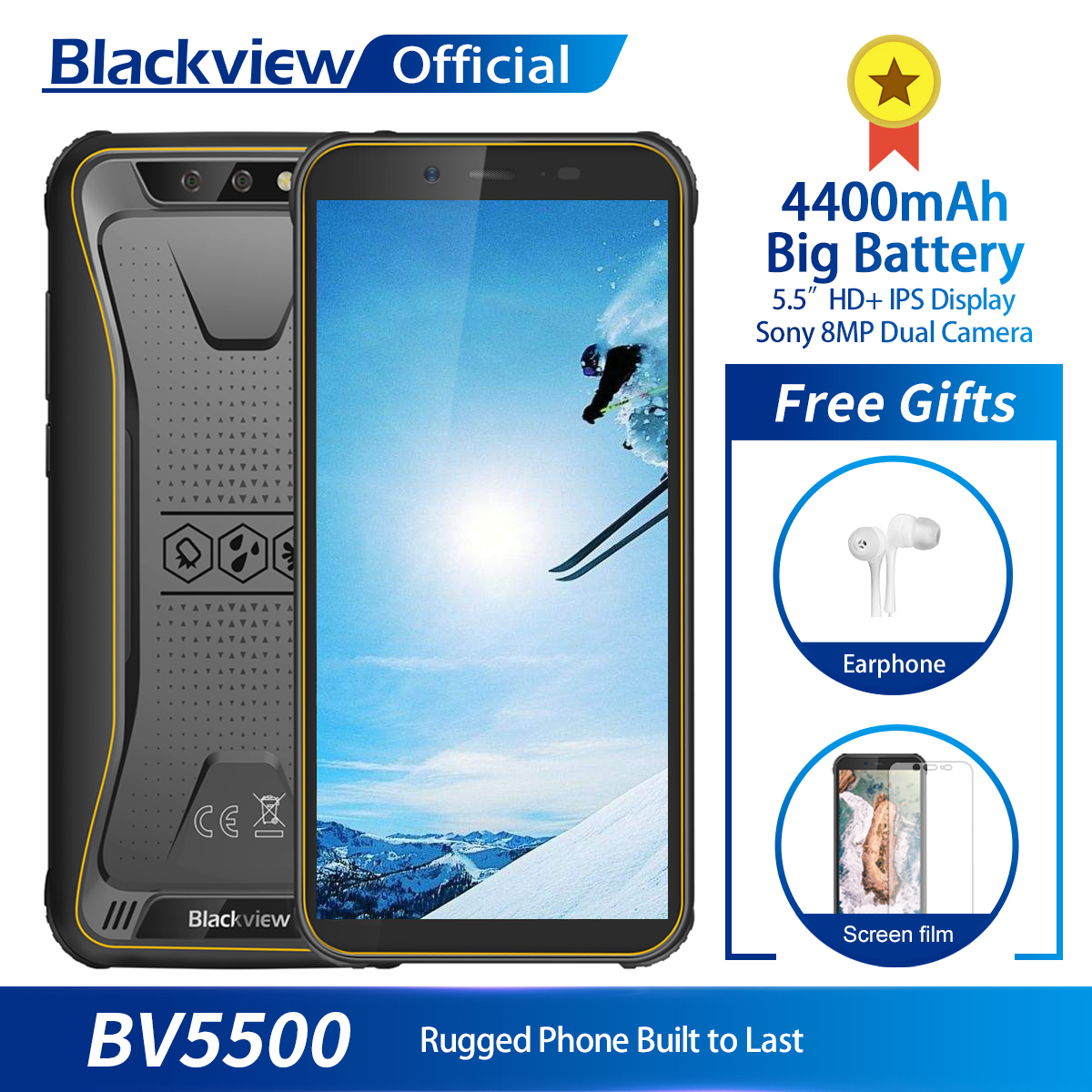 Blackview BV5500 MTK6580P Android 8 1 Mobile Phone 5 5 18 9 Screen 2GB 16GB IP68