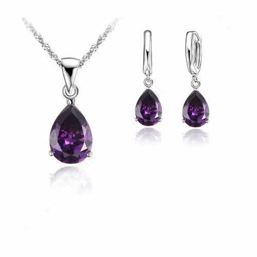 Romantic 925 Sterling Silver Crystal Jewelry Sets Chain Cubic Zirconia CZ Pendant Necklace Hoop Earring  Bijoux
