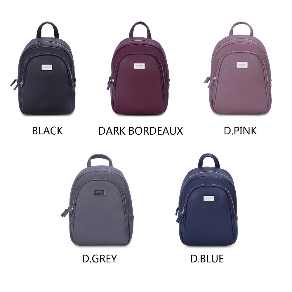 DAVID JONES women backpack faux leather female shoulder bags big lady solid softpack girl teenager school bag drop shipping