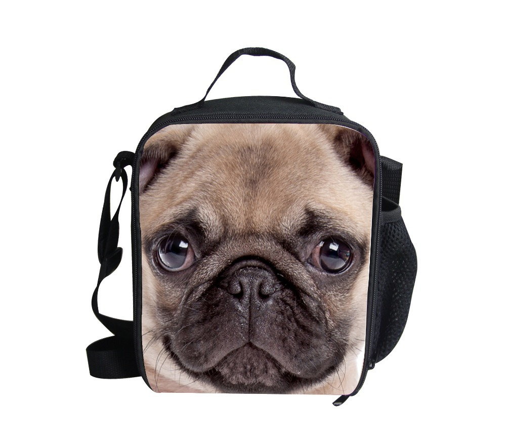 Hot Sale 2016 bulldog Lunch Bag Kids Cartoon Children Lunch Box Girl Gift Animals print Shoulder Lunchbox Casual Picnic Box