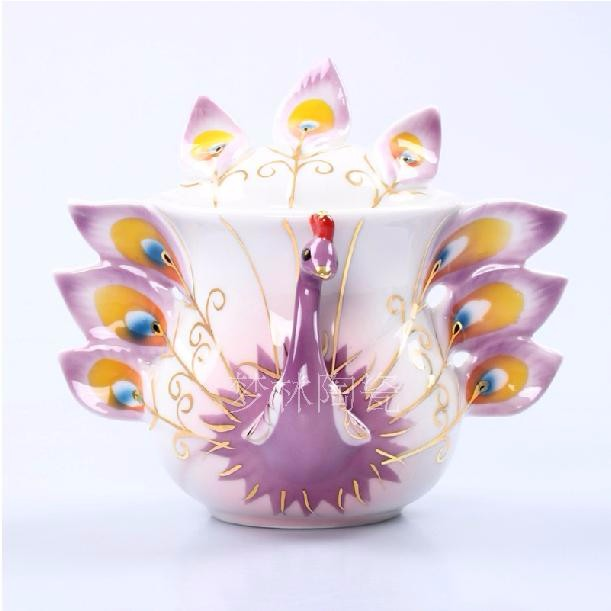 drinkware Chinese animal Style Coffee Cups Peacock Coffee Milk Pot,Enamel teapot Creative Ceramic Mug 3D Color Enamel Porcelain