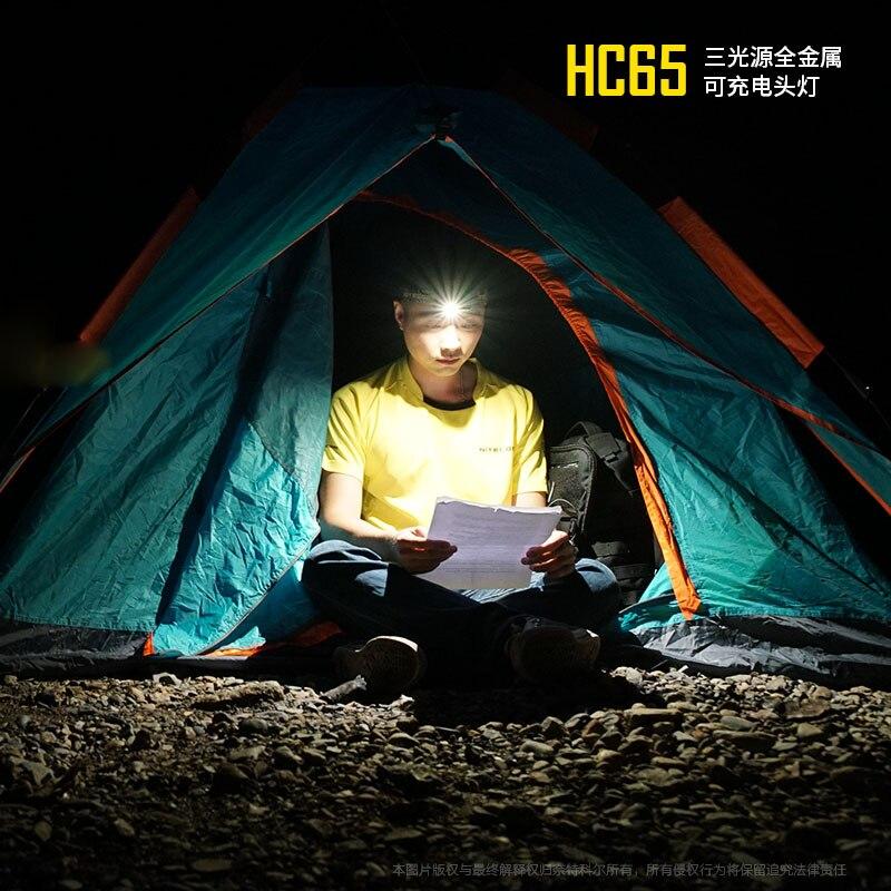 Nitecore HC65 LED lampe de Poche Cree XM-L2 U2 + CRI + ROUGE LED 1000lm USB Rechargeable Phare avec 1 pc 3400 mah 18650 Batterie - 5