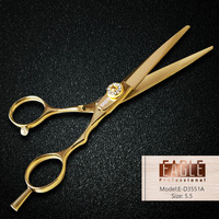 High Quality Gold Hair Salon Professional Scissors Jewelry Screw Cutting Scissor Stainless Steel Free Shipping
