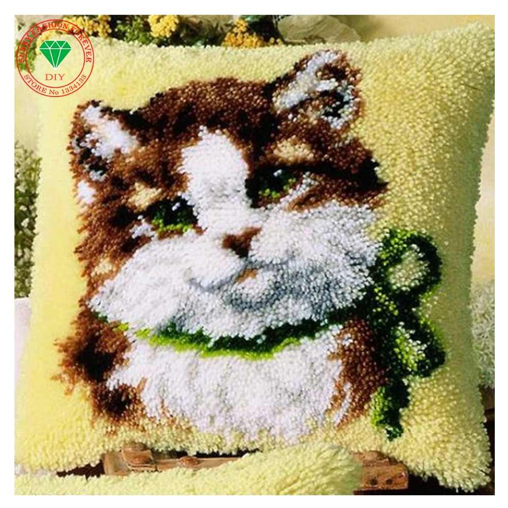 Kedi Mandalı kanca kilim kitleri İğne halı nakış yastık Diy yastık kılıfı nakış Patchwork Iplik Dikiş Yün keçe