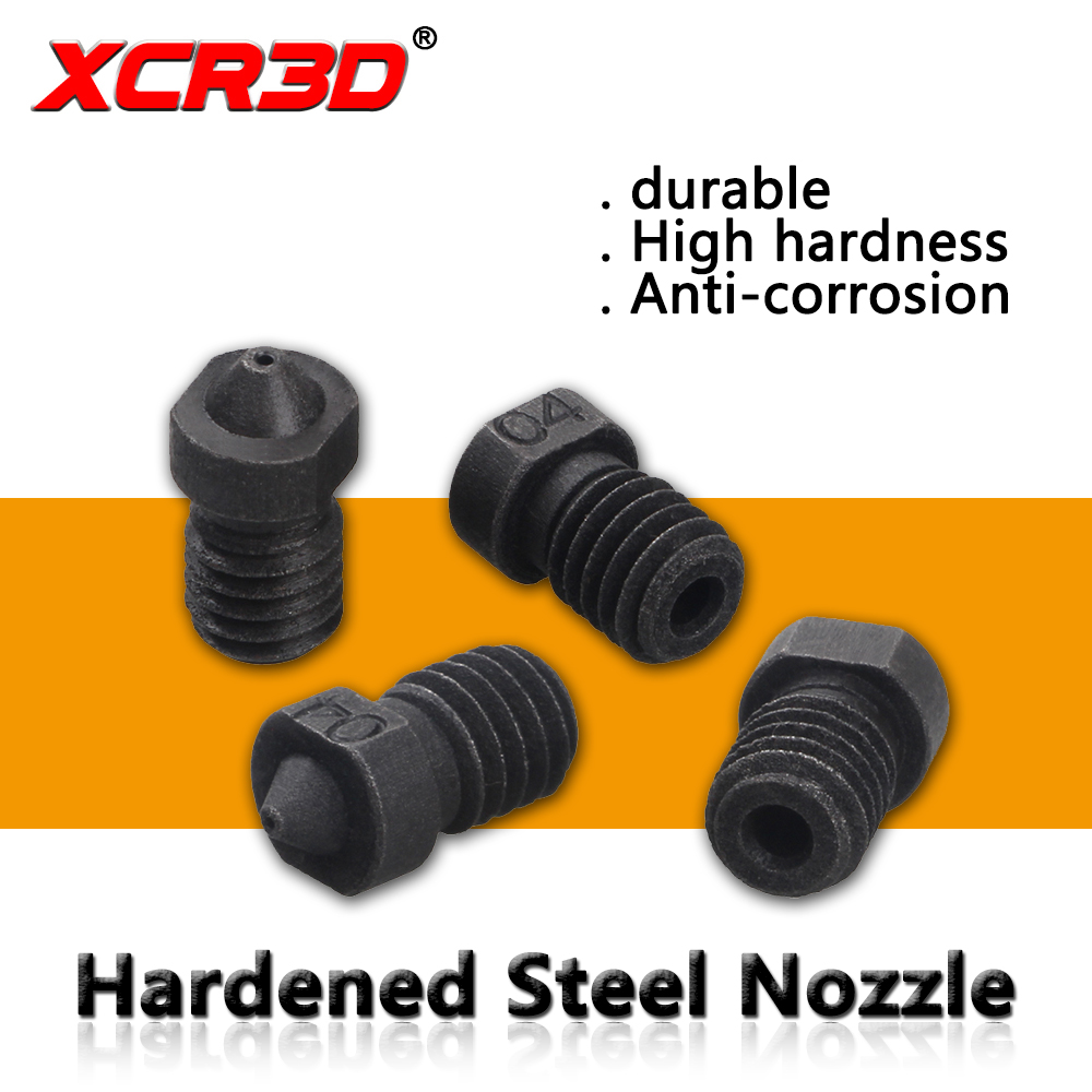 3D Printer Parts E3D Hardened Steel Nozzle V5 V6 High Temperature Nozzle M6 Thread 0.4/0.6/1.8/1.0 1.75mm Steel Die Steel Nozzle