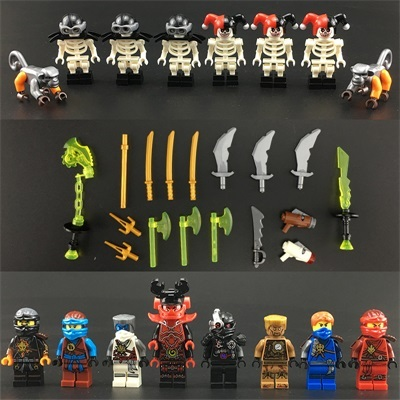 HOT NinjagoINGlys Figures Bricks Clown skeleton Kai Jay With Weapons Action Toys Figure Blocks Toys for childrenModel Building