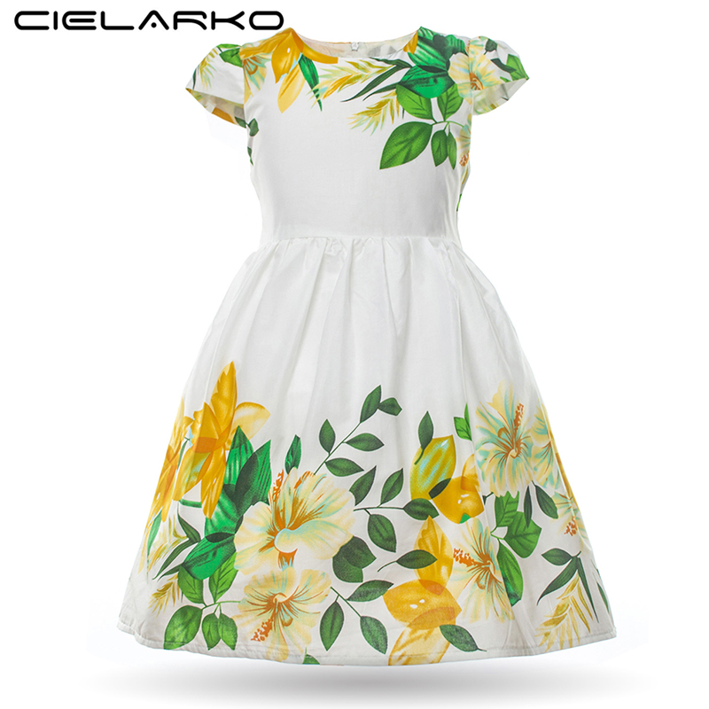 Cielarko Girls Dress Petal Sleeve Cotton Kids Flower Dresses Summer Baby Beach Sundress Kids Party Kostium Odzież dla dziewczynki