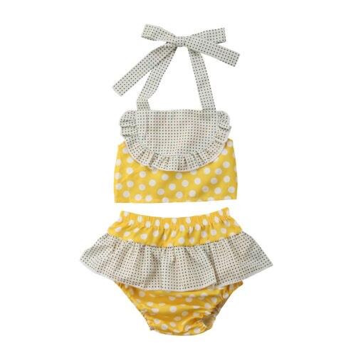 2 Stücke Mädchen Bikini Set Halter Backless Bademode Dots Print Badeanzug Hohe Taille Tutu Badeanzug Prinzessin Kleinkind Beachwear Neue