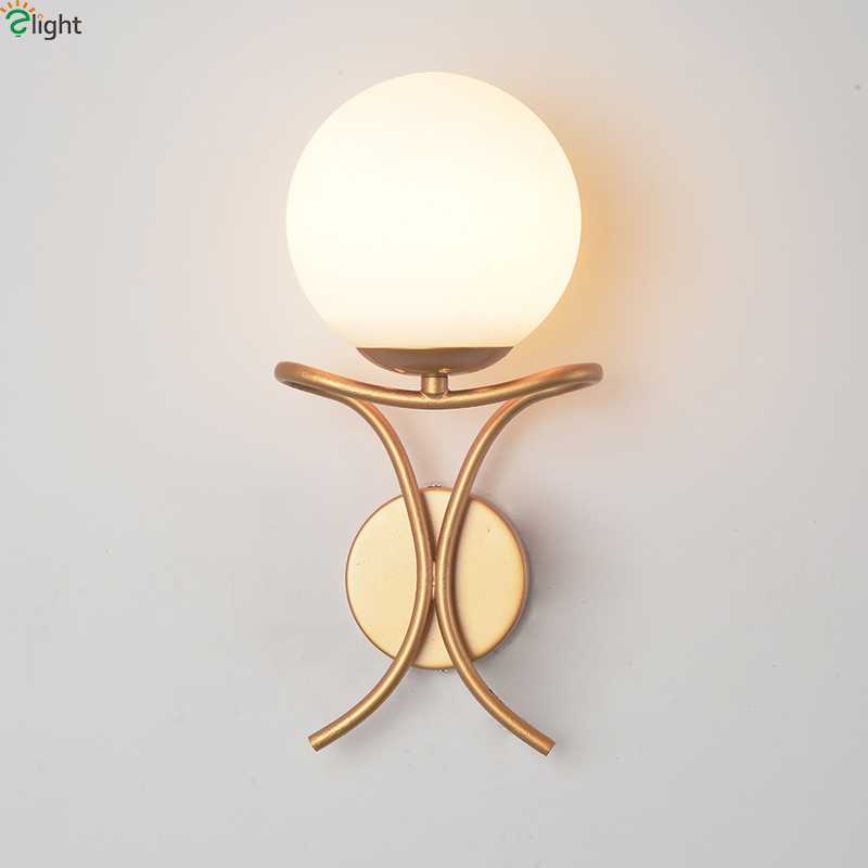 Modern Simple Gold Metal Led Wall Lights Lustre Glass Ball Bedroom Led Wall Light Corridor Led Wall Lamp Led Luminaria Fixtures modern glass ball wall lamps luminaria led wall lights for bedroom living room wall sconces light fixtures lustre lighting lighs