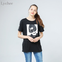 Lychee Summer Women T Shirt Dark Girl Janpanese Print Short Sleeve T Shirt Harajuku Tee Top