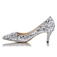 Luxury Women Bling White Diamonds Wedding Pumps Crystal Drilled Kitten Heels Ladies Full Rhinestone High Heels Female Zapatpos