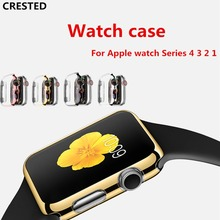 CRESTED cover For Apple Watch band 4 Case 42mm 38mm iwatch band 3 44mm/40mm protective screen protector watch Accessories shell(China)