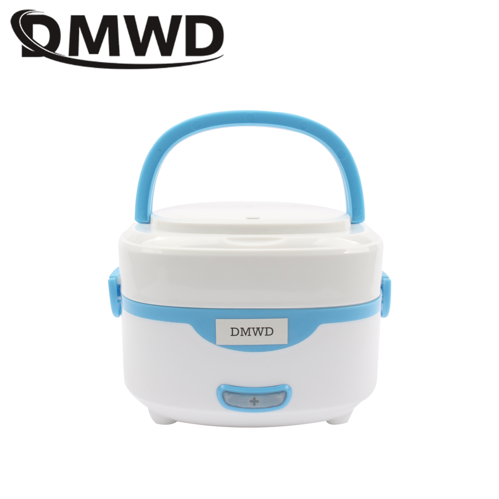 DMWD 110V 220V Portable Electric Heating Lunch Box Mini Hot Rice Cooker Steamer Thermos Food Warmer Container Thermal LunchBoxes portable 12v car electric heating lunch box rice cooker food warmer 1 05l 40w