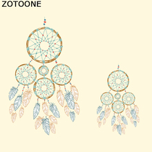 ZOTOONE Feathers Dreamcatcher Patches For Clothes T-shirt Dresses Iron On Transfer Embroidery Patch Appliqued Heat Press Decor D