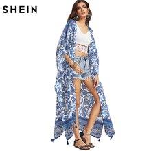 Шеин Женская мода лето 2017 Синий Цветочный принт с отделкой кисточками Longline Kimono Женская Половина рукава открытой передней Винтаж кимоно