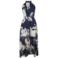 Beautiful Summer Dress Women Sleeveless Halter Ankle Length Plus Size Long Dress Chiffon Backless Floral Print
